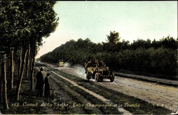 Ak Circuit de la Sarthe, Entre Champagne et la Fourche, Autorennen