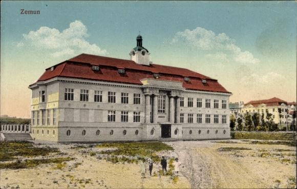 Ak Zemun Belgrad Serbien, Außenansicht eines Gebäudes