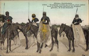 Ak Mali, Afrique Occidentale, Touareg armés de lances, Tuareg, Reiter, Krieger, Lanzen, Schilder