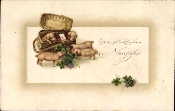 Präge Ak Glückwunsch Neujahr, Schweine, Kleeblätter, Korb