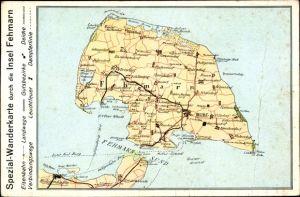 Landkarten Ak Burg auf der Insel Fehmarn, Dänschendorf, Bojendorf, Grüner Brink