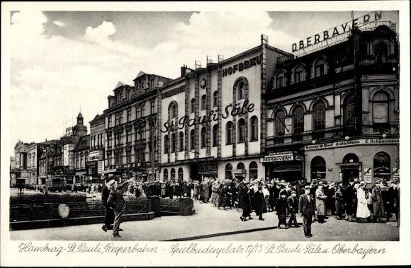 Ak Hamburg Mitte St. Pauli, Blick auf den Spielbudenplatz, Reeperbahn, St. Pauli Säle, Inh. W. Meyer