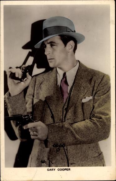 Ak Schauspieler Gary Cooper, Detektiv, Pistolen, Film Noir