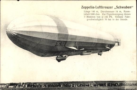 Ak Zeppelin Luftkreuzer Schwaben, Luftschiff über einem Feld