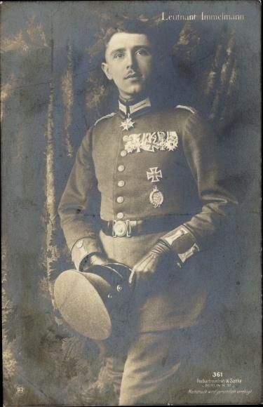 Ak Jagdflieger Oberleutnant Max Immelmann, Portrait in Uniform, Sanke 361