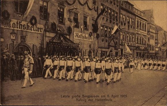 Ak Freiberg im Kreis Mittelsachsen, Letzte große Bergparade am 06. April 1905, Hüttenleute