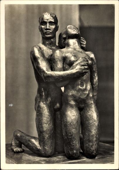 Ak Plastik von Georg Kolbe, Kniendes Menschenpaar