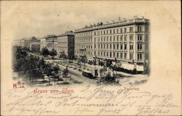Ak Wien 1. Innere Stadt Österreich, Partie am Parkring, Pferdebahn