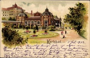 Litho Karlovy Vary Karlsbad Stadt, Partie im Stadtpark, Spaziergänger