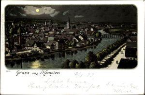 Mondschein Litho Kempten im Allgäu Schwaben, Flusspartie mit Blick auf die Stadt