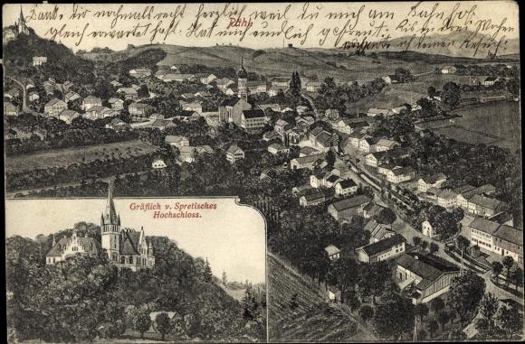 Ak Pähl im Landkreis Weilheim Schongau, Gräflich v. Spretisches Hochschloss, Panorama vom Ort