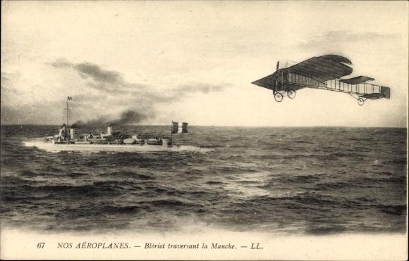 Ak Nos Aéroplanes, Blériot traversant la Manche, Flugzeug, Französisches Kriegsschiff, Levy & Fils