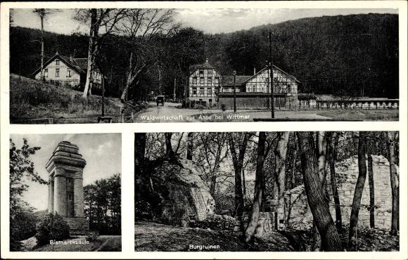 Ak Wittmar in Niedersachsen, Waldwirtschaft zur Asse, Bes. R. Marschlich, Bismarcksäule, Burgruinen