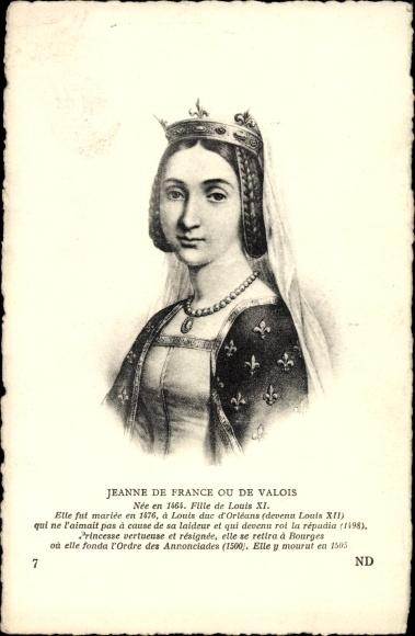 Künstler Ak Jeanne de France ou de Valois, Fille de Louis XI. 1464-1505