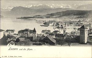 Ak Luzern Stadt Schweiz, Panoramablick über die Stadt auf die Alpen