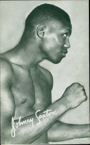 Ak Johnny Saxton, Boxer, Standportrait, Weltergewicht