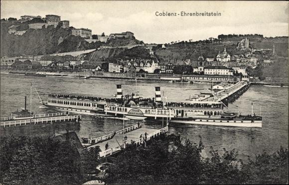 Ak Ehrenbreitstein Koblenz in Rheinland Pfalz, Kaiserin Auguste Victoria am Anleger, Stadt