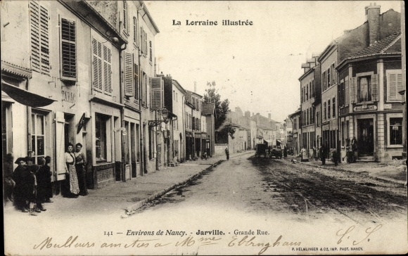 Ak Jarville la Malgrange Lothringen Meurthe et Moselle, Grande Rue, Straßenpartie