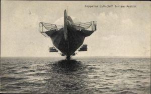 Ak Zeppelins Luftschiff, hintere Ansicht, Über dem Bodensee schwebend