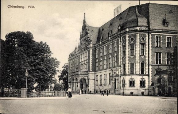 Ak Oldenburg in Niedersachsen, Blick auf die Post, Straßenansicht