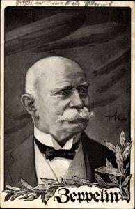 Künstler Ak Ferdinand Graf von Zeppelin, Portrait, Deutscher Luftflotten Verein