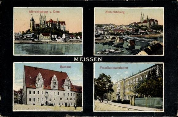 Passepartout Ak Meißen in Sachsen, Albrechtsburg und Dom, Rathaus, Porzellanmanufaktur
