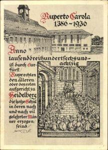 Künstler Ak Heidelberg am Neckar, 550 Jahre Universität 1936, Ruperto Carola