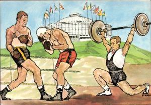 Künstler Ak Zurli, XVII. Olympische Spiele 1960 in Rom, Boxer, Gewichtheber