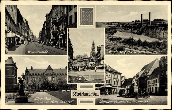 Ak Zwickau in Sachsen, Denkmäler, Brückenberg  und Morgensternschacht, Mariendom, Wilhelmstraße