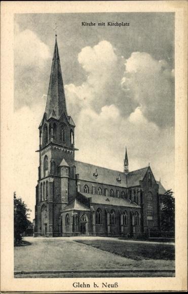 Ak Glehn Korschenbroich NRW, Kirche mit Kirchplatz
