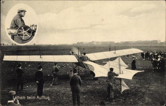 Ak Hubert Latham beim Aufflug, Monoplan, Flugpionier, Pilot