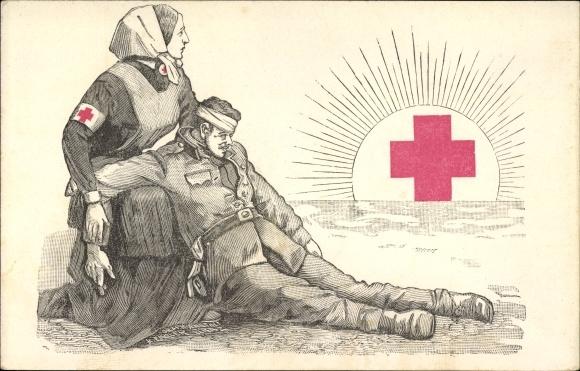 Künstler Ak Verwundeter Soldat, Krankenschwester, Rotes Kreuz