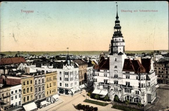 Ak Opava Troppau Reg. Mährisch Schlesien, Oberring mit Schmetterhaus, Städtisches Museum
