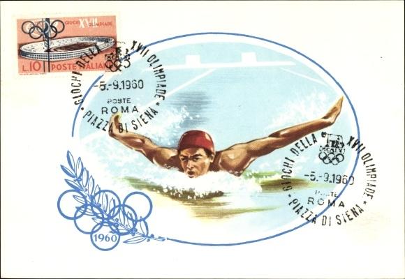 Künstler Ak XVII. Olympische Spiele 1960 in Rom, Schwimmwettkampf, Schwimmer