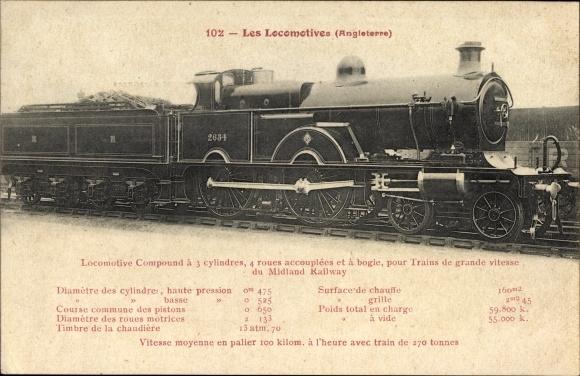 Ak Britische Dampflokomotive No. 2634, Schnellzüge Midland Railway