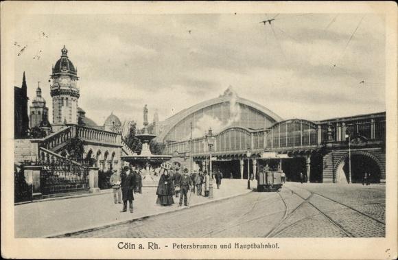 Ak Köln am Rhein, Petersbrunnen mit Hauptbahnhof, Tram
