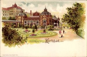 Litho Karlovy Vary Karlsbad Stadt, Stadtpark, Kurhaus, Spaziergänger