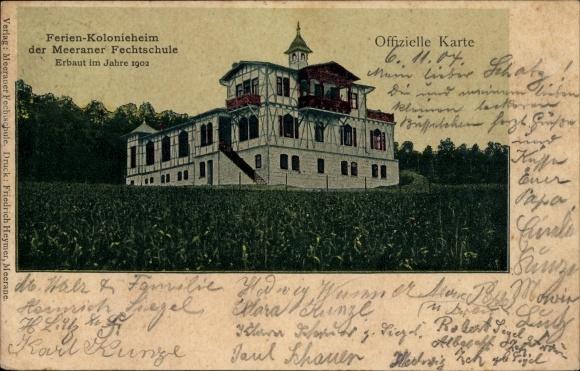 Ak Meerane in Sachsen, Blick auf das Ferienkolonieheim der lokalen Fechtschule