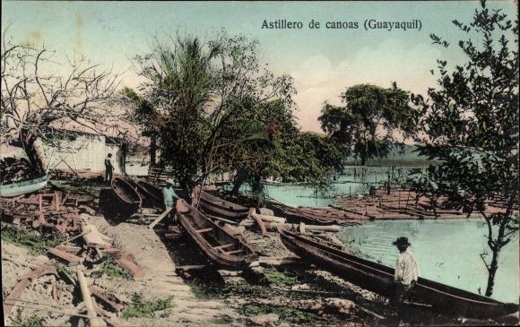 Ak Guayaquil Ecuador, Astillero de canoas, Kanus, Kanubau