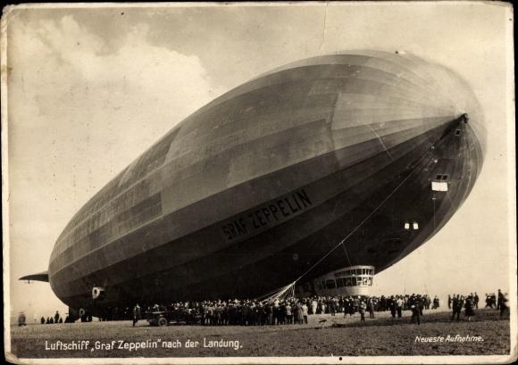 ak luftschiff graf zeppelin nach der landung lz 127 nr 1839890 oldthing flugzeuge. Black Bedroom Furniture Sets. Home Design Ideas