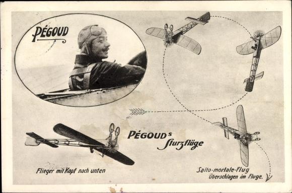 Ak Adolphe Pégoud, Sturzflüge, Flieger mit Kopf nach unten, Salto mortale Flug, Flugpionier