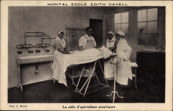 Ak Hopital Ecole Edith Cavell, La salle d'operations aseptiques, Operationssaal, Patient, Arzt