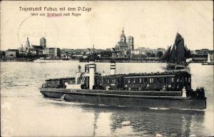 Ak Stralsund in Mecklenburg Vorpommern, Trajektschiff Putbus mit dem D - Zuge, fährt nach Rügen