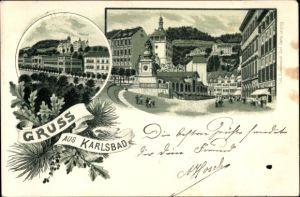 Litho Karlovy Vary Karlsbad Stadt, Teilansichten der Stadt, Marktplatz, Marktbrunnen