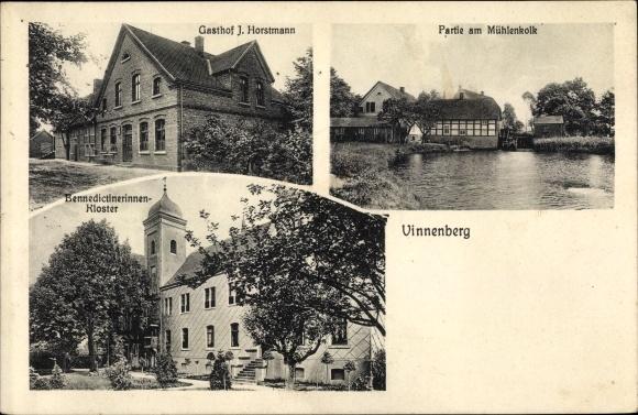 Ak Vinnenberg Milte Warendorf in Nordrhein Westfalen, Gasthof J. Horstmann, Mühlenkolk, Kloster