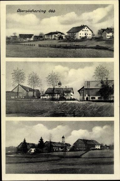 Ak Obersöchering in Oberbayern, Teilansichten des Ortes, Wohnhäuser, Kirche
