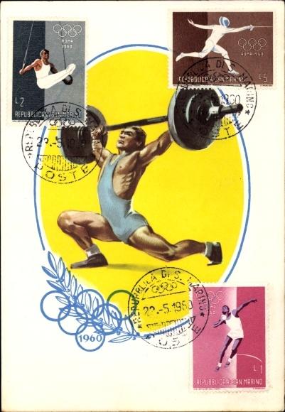Künstler Ak XVII. Olympische Spiele 1960 in Rom, Gewichtheber, Briefmarken San Marino
