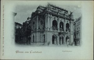 Mondschein Ak Karlovy Vary Karlsbad Stadt, Blick auf das Stadttheater
