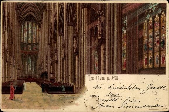 Litho Köln am Rhein, Innenansicht vom Kölner Dom, Gläubige und ein Pfarrer
