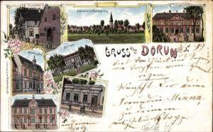 Litho Dorum Wurster Nordseeküste Landkreis Cuxhaven, Meyer's Hotel, Volksschule, Apotheke, Postamt